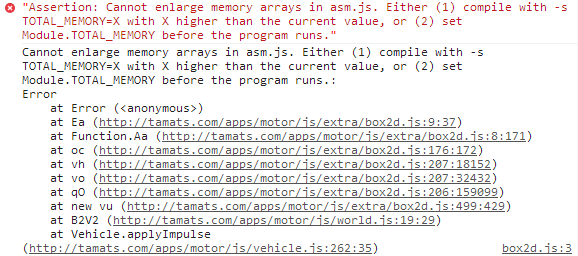 Assertion: Cannot enlarge memory arrays in asm.js. Either (1) compile with -s TOTAL_MEMORY=X with X higher than the current value, or (2) set Module.TOTAL_MEMORY before the program runs.""